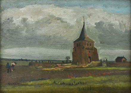 Van Gogh, Vincent: The Old Tower of Nuenen with a Ploughman. Fine Art Print/Poster. Sizes: A4/A3/A2/A1 (004197)